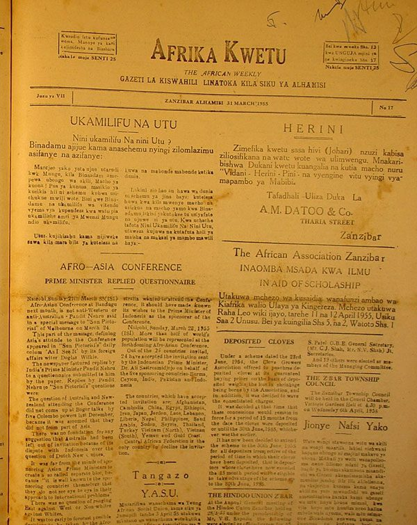 Firearm amnesty in zanzibar until ist september 1954